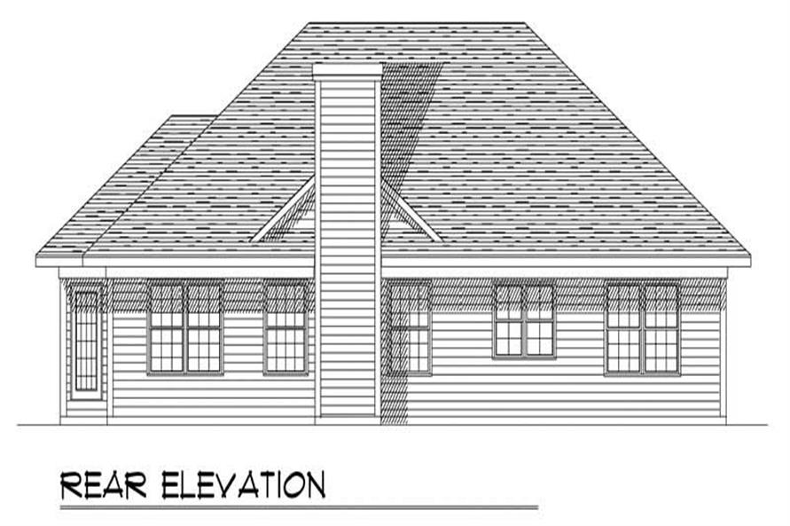 Home Plan Rear Elevation of this 3-Bedroom,1596 Sq Ft Plan -101-1735