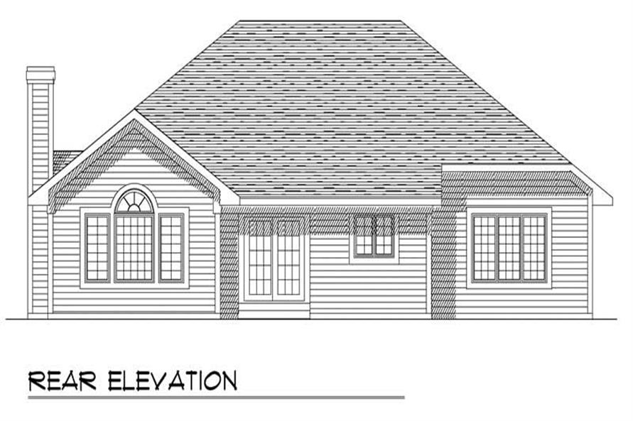 Home Plan Rear Elevation of this 3-Bedroom,1728 Sq Ft Plan -101-1745
