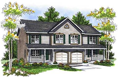 4-Bedroom, 3716 Sq Ft Multi-Unit House Plan - 101-1756 - Front Exterior