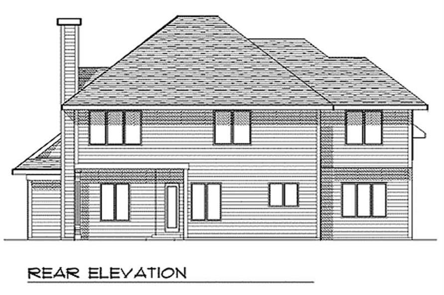 Home Plan Rear Elevation of this 4-Bedroom,2458 Sq Ft Plan -101-1757