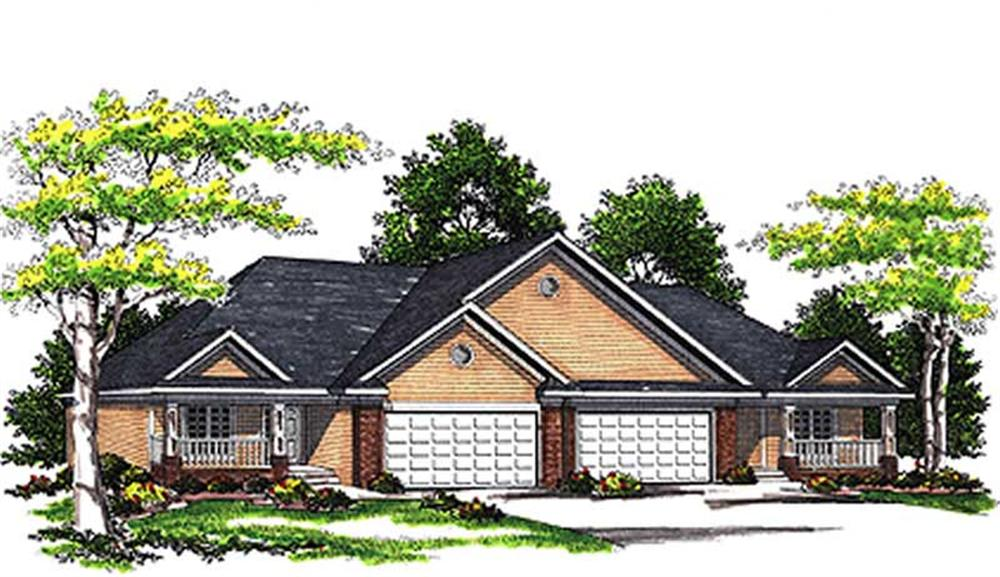 Front elevation of Multi-Unit home (ThePlanCollection: House Plan #101-1766)