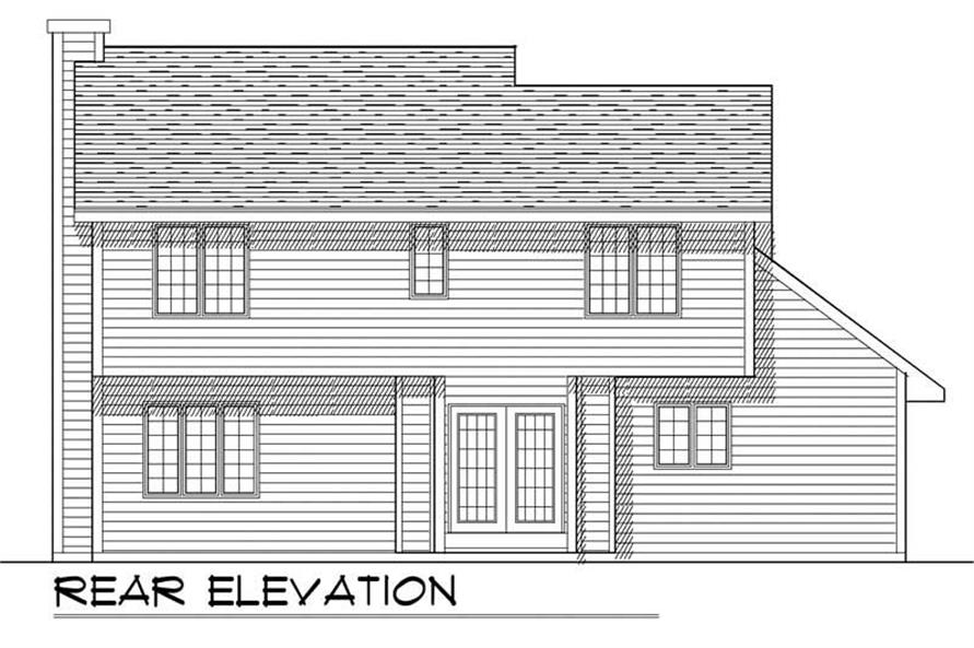 Home Plan Rear Elevation of this 3-Bedroom,1552 Sq Ft Plan -101-1779