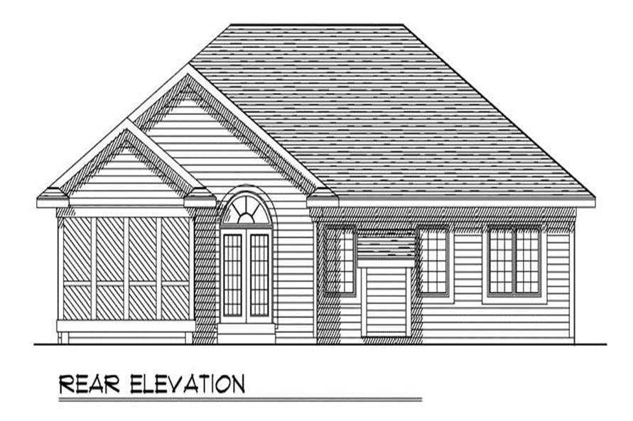 Home Plan Rear Elevation of this 3-Bedroom,1495 Sq Ft Plan -101-1781