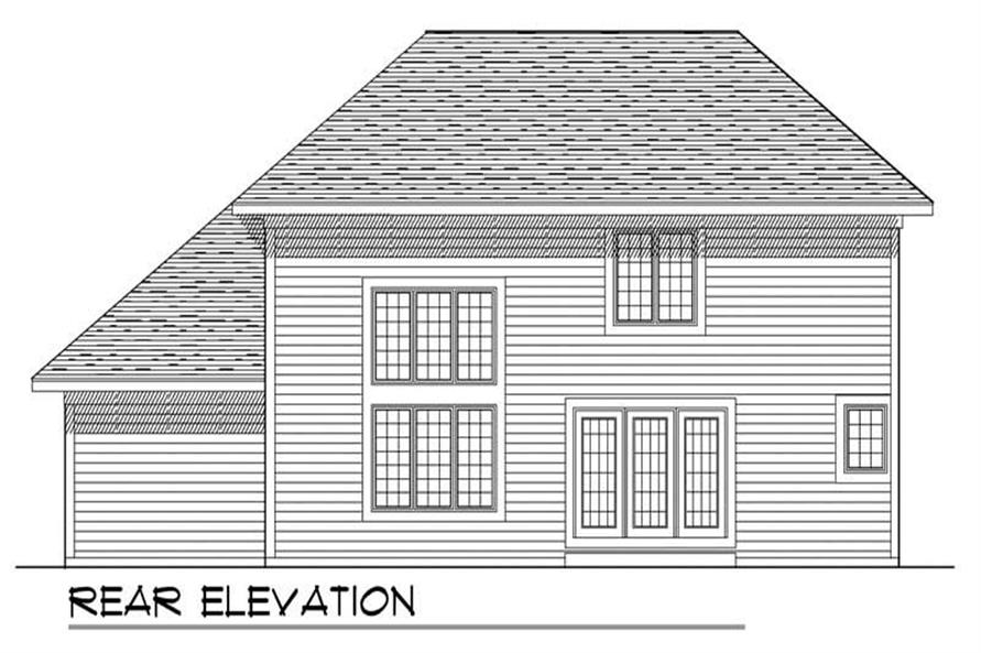 Home Plan Rear Elevation of this 3-Bedroom,2018 Sq Ft Plan -101-1782