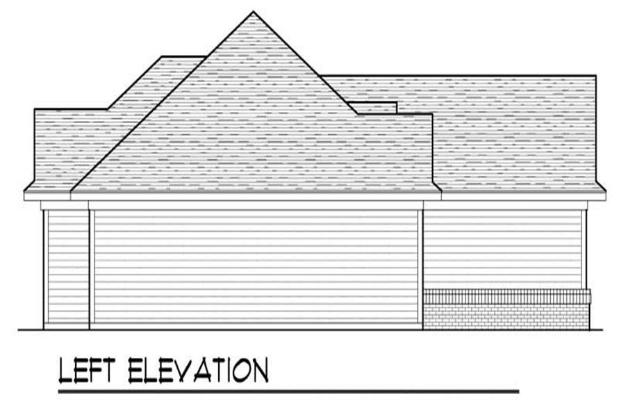 Home Plan Left Elevation of this 3-Bedroom,1460 Sq Ft Plan -101-1792