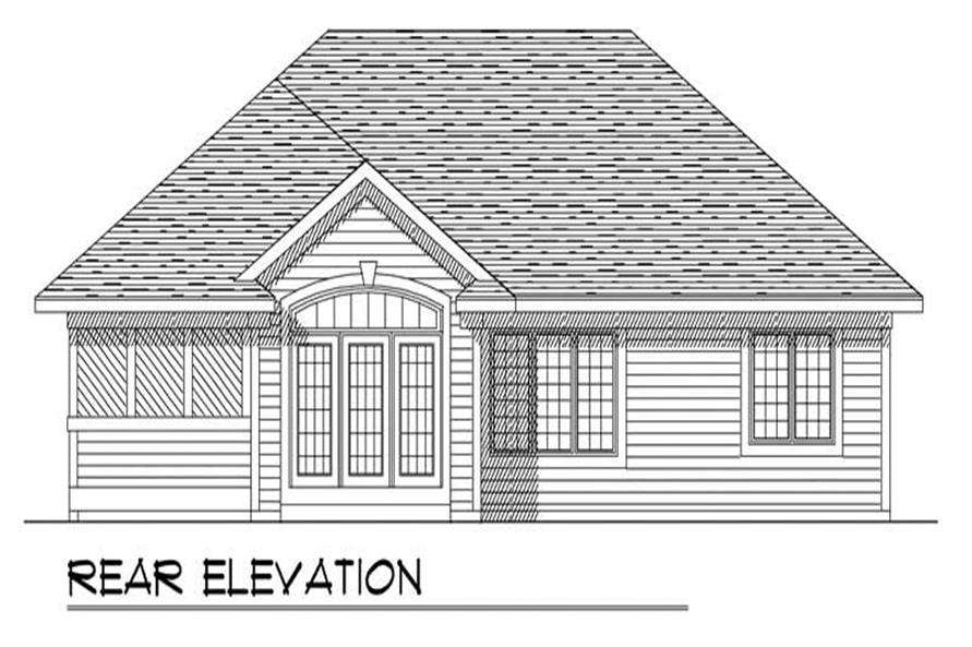 Home Plan Rear Elevation of this 3-Bedroom,1460 Sq Ft Plan -101-1792
