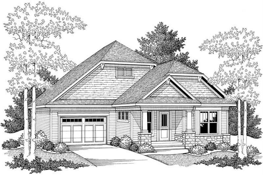 Home Plan Front Elevation of this 2-Bedroom,1649 Sq Ft Plan -101-1800