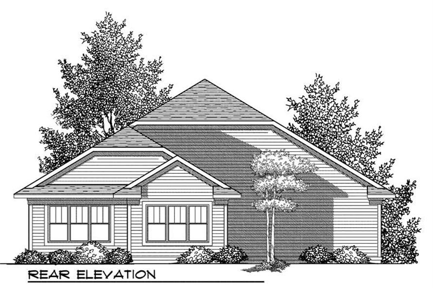 Home Plan Rear Elevation of this 2-Bedroom,1649 Sq Ft Plan -101-1800