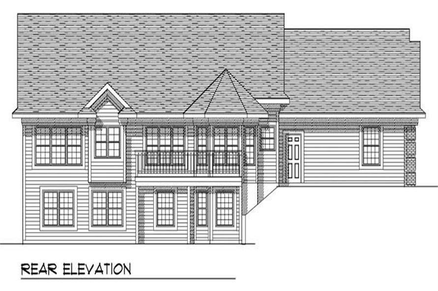 Home Plan Rear Elevation of this 3-Bedroom,1700 Sq Ft Plan -101-1805