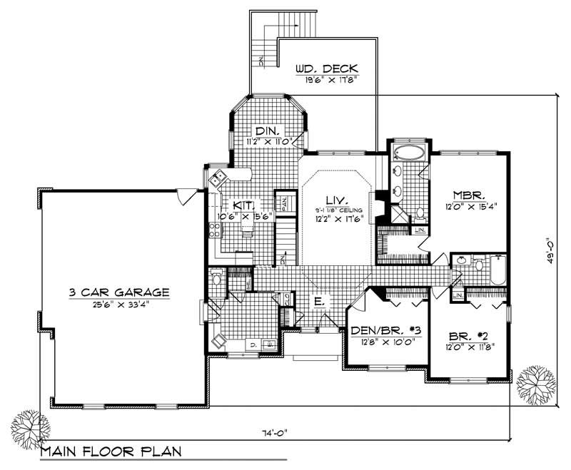 Ranch house plan 3 bedrms 2 baths 1700 sq ft 101 1805 for 1700 sq ft house plans