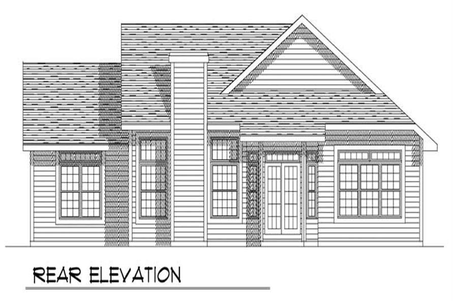 Home Plan Rear Elevation of this 3-Bedroom,1730 Sq Ft Plan -101-1808