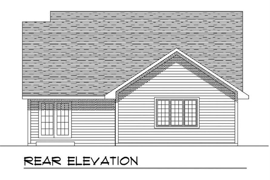 Home Plan Rear Elevation of this 3-Bedroom,1448 Sq Ft Plan -101-1814
