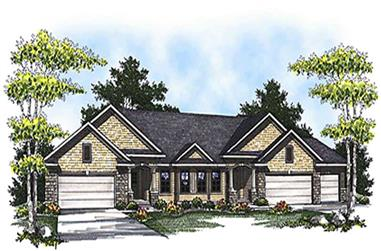 2-Bedroom, 3126 Sq Ft Multi-Unit House Plan - 101-1820 - Front Exterior