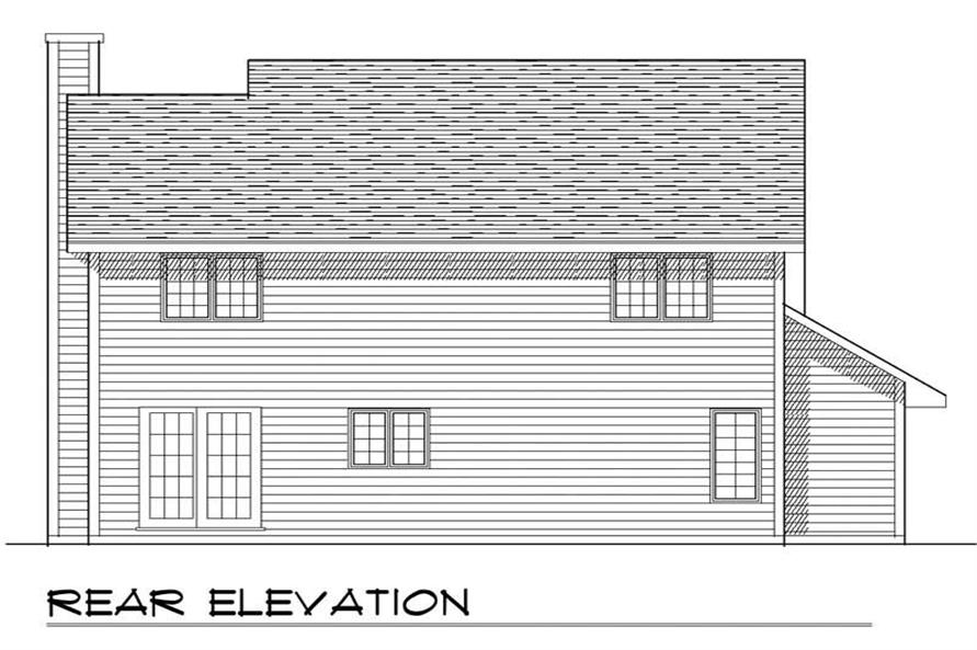 Home Plan Rear Elevation of this 4-Bedroom,1683 Sq Ft Plan -101-1822