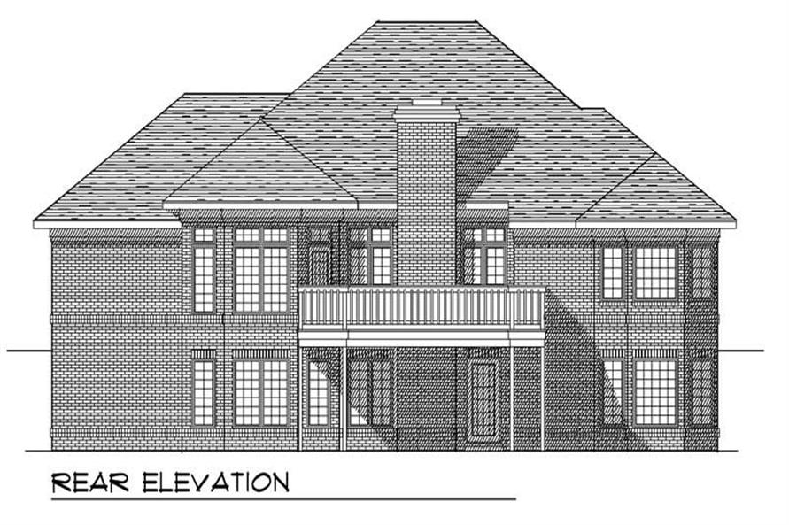 Home Plan Rear Elevation of this 4-Bedroom,3050 Sq Ft Plan -101-1825