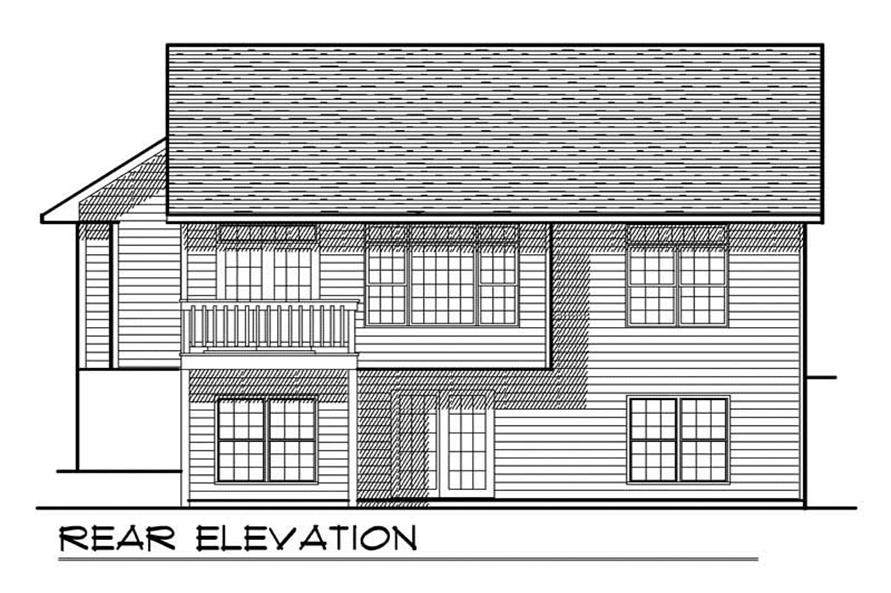 Home Plan Rear Elevation of this 2-Bedroom,1306 Sq Ft Plan -101-1829