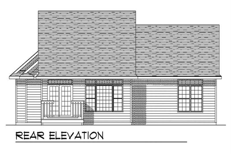 Home Plan Rear Elevation of this 3-Bedroom,1519 Sq Ft Plan -101-1830