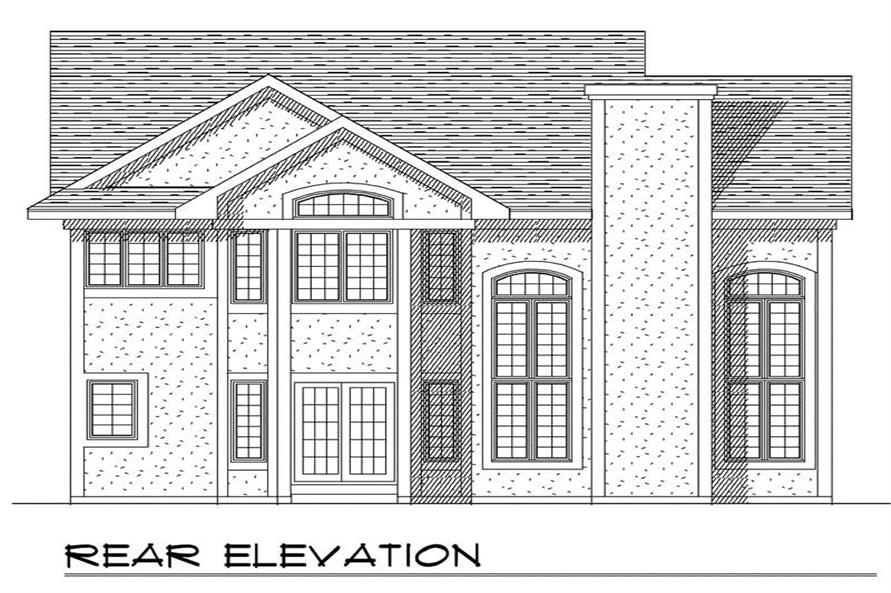 Home Plan Rear Elevation of this 4-Bedroom,2596 Sq Ft Plan -101-1833