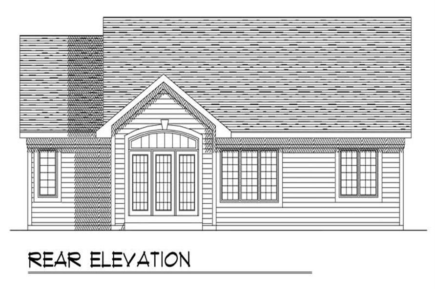Home Plan Rear Elevation of this 3-Bedroom,1451 Sq Ft Plan -101-1840