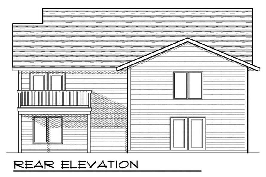 Home Plan Rear Elevation of this 2-Bedroom,1334 Sq Ft Plan -101-1842