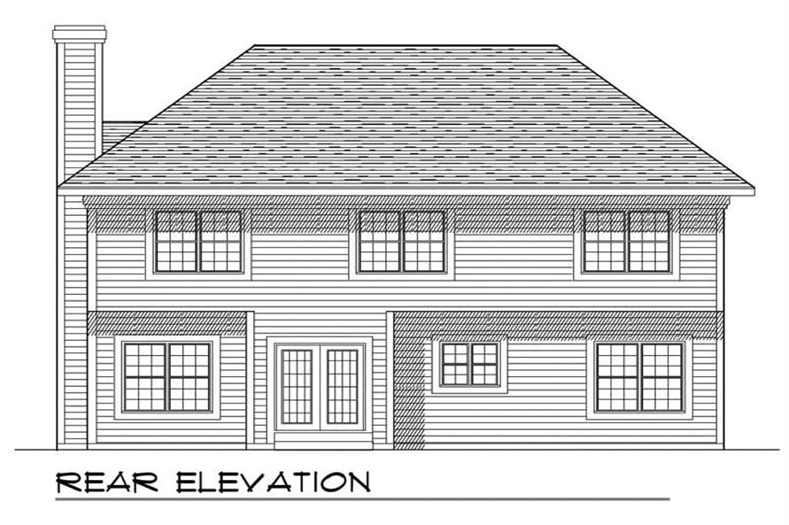 Home Plan Rear Elevation of this 4-Bedroom,2316 Sq Ft Plan -101-1844