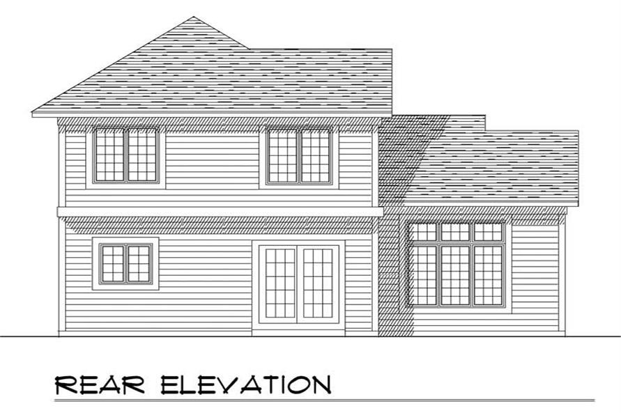 Home Plan Rear Elevation of this 3-Bedroom,1550 Sq Ft Plan -101-1845