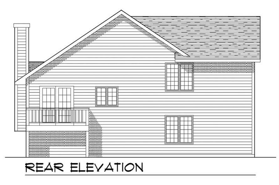 Home Plan Rear Elevation of this 2-Bedroom,1337 Sq Ft Plan -101-1847