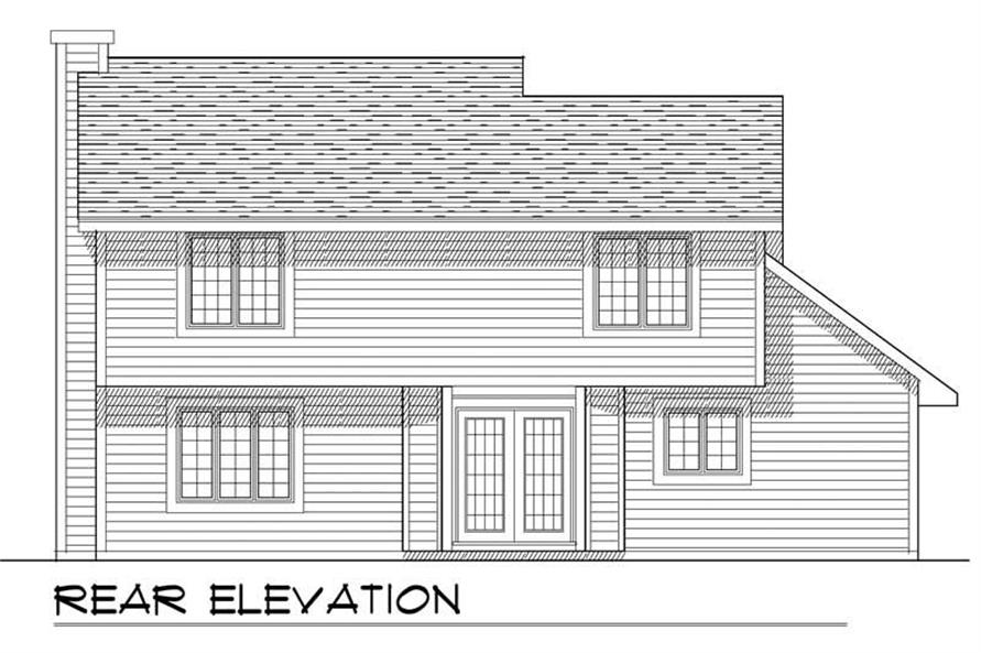 Home Plan Rear Elevation of this 3-Bedroom,1552 Sq Ft Plan -101-1848