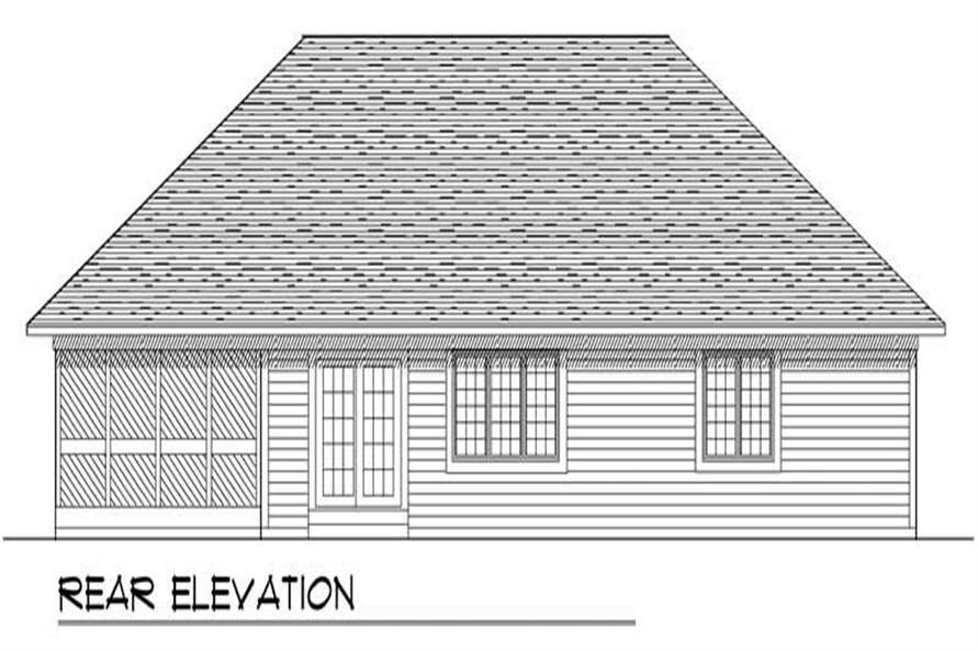 Home Plan Rear Elevation of this 3-Bedroom,1540 Sq Ft Plan -101-1852