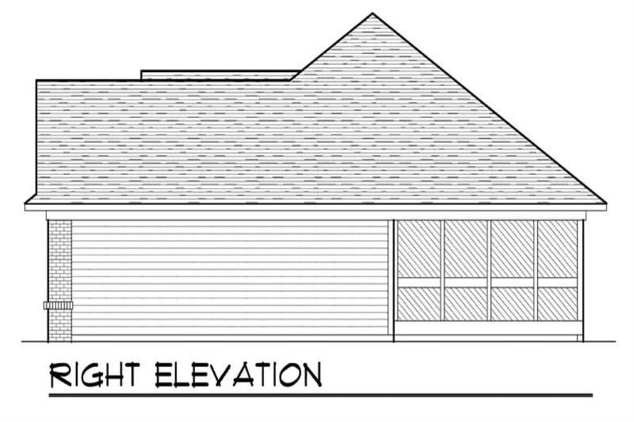 Home Plan Right Elevation of this 3-Bedroom,1540 Sq Ft Plan -101-1852
