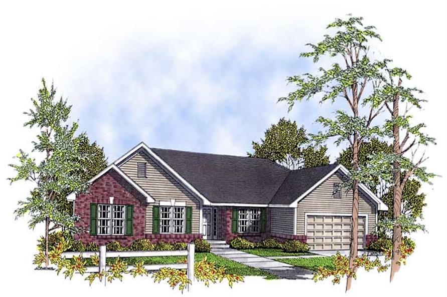 Home Plan Rendering of this 3-Bedroom,1540 Sq Ft Plan -101-1852