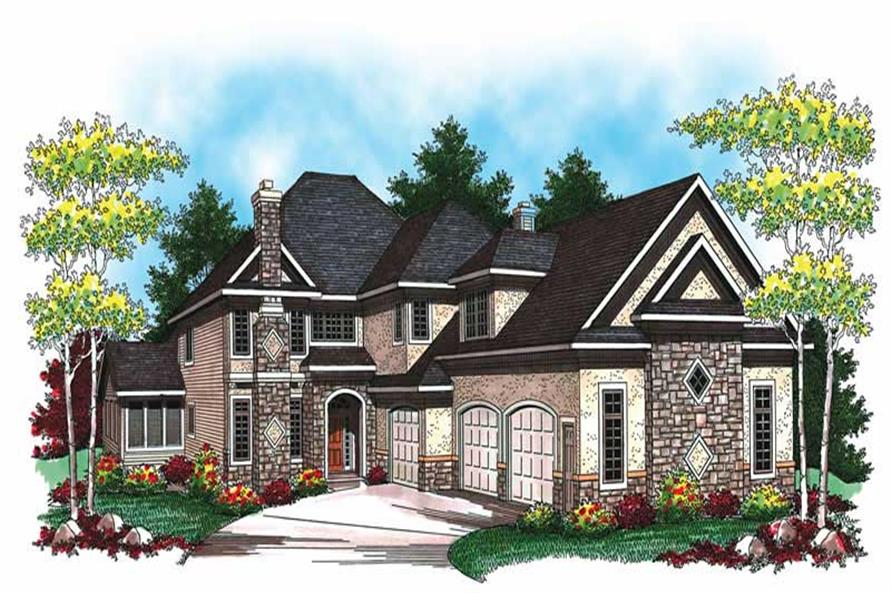 4-Bedroom, 2978 Sq Ft Traditional House Plan - 101-1859 - Front Exterior