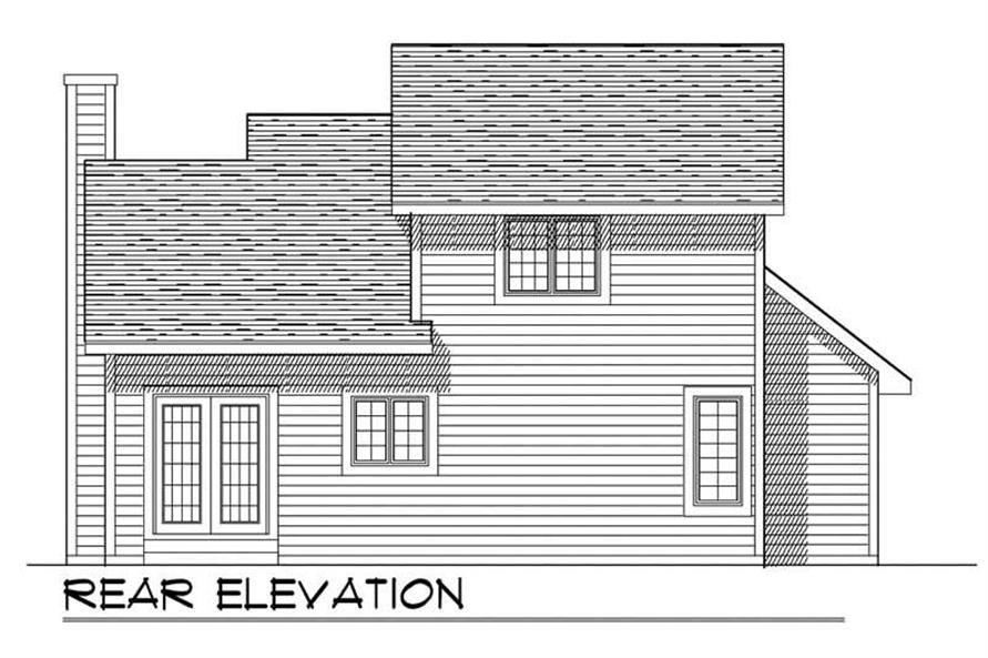 Home Plan Rear Elevation of this 3-Bedroom,1342 Sq Ft Plan -101-1868