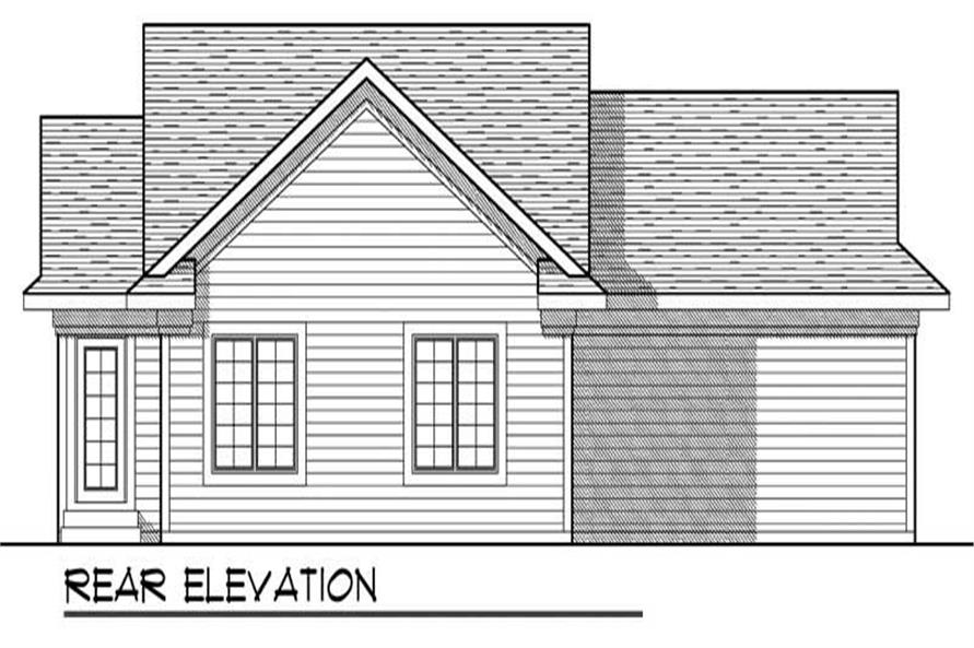 Home Plan Rear Elevation of this 2-Bedroom,1047 Sq Ft Plan -101-1871