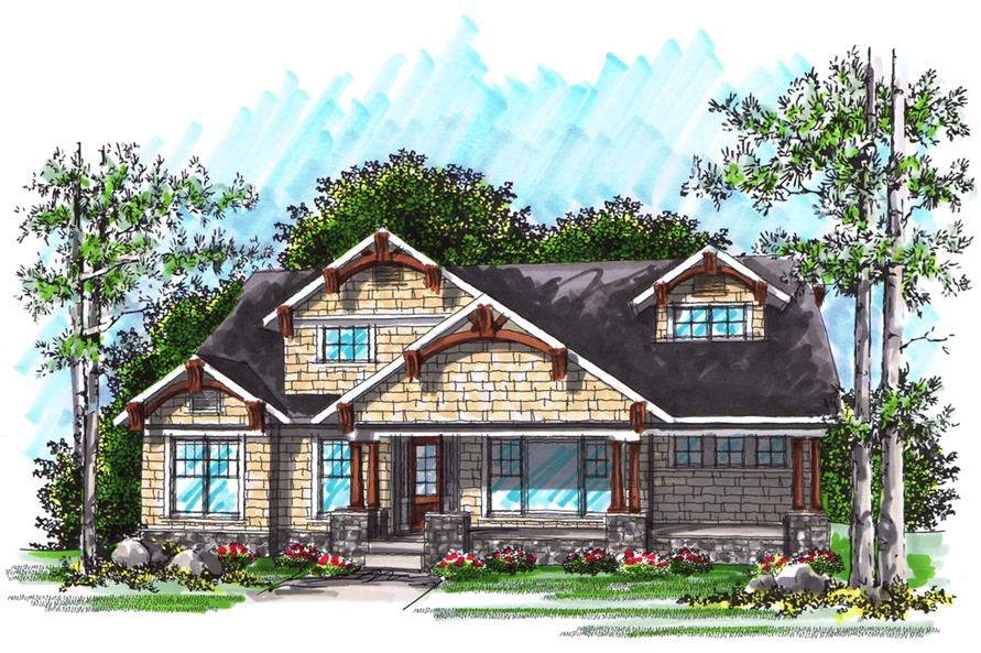 101-1874: Home Plan Rendering-Front Door