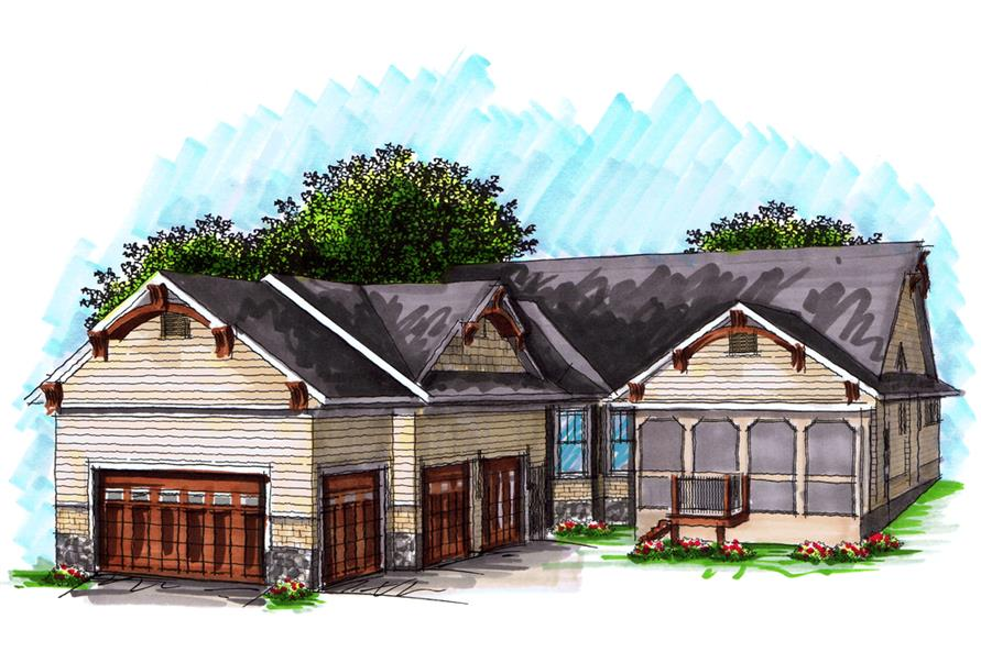 101-1874: Home Plan Rendering-Landscaping