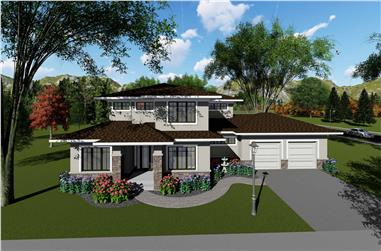 4-Bedroom, 3187 Sq Ft Contemporary Home Plan - 101-1957 - Main Exterior