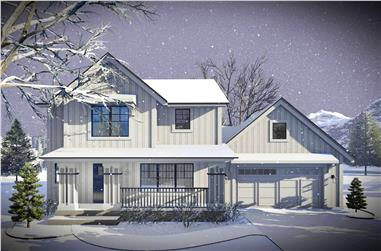 3-Bedroom, 1484 Sq Ft Contemporary House Plan - 101-1966 - Front Exterior