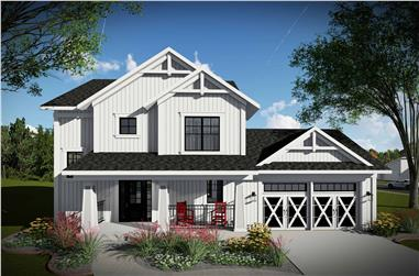 3-Bedroom, 1495 Sq Ft Contemporary House Plan - 101-1967 - Front Exterior