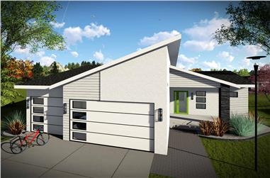 3-Bedroom, 1583 Sq Ft Contemporary Home Plan - 101-1968 - Main Exterior