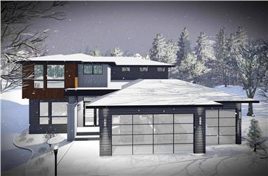 4-Bedroom, 2321 Sq Ft Contemporary Home Plan - 101-1979 - Main Exterior