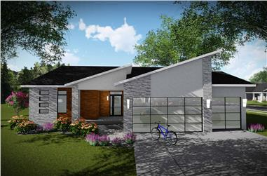 3-Bedroom, 1501 Sq Ft Contemporary Home Plan - 101-1990 - Main Exterior