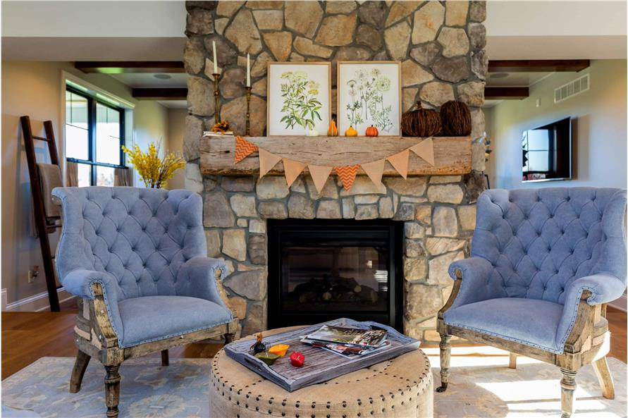 Great Room: Fireplace of this 5-Bedroom,4724 Sq Ft Plan -101-2006