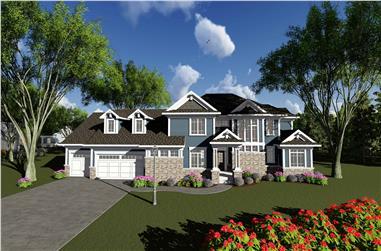 4-Bedroom, 5384 Sq Ft Farmhouse Home Plan - 101-2016 - Main Exterior