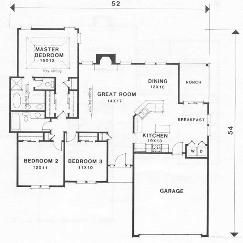 Ranch Home With 3 Bdrms 1461 Sq Ft House Plan 102 1000