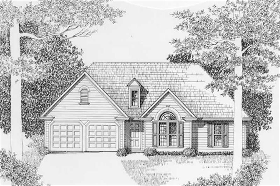 3-Bedroom, 1381 Sq Ft Ranch Home Plan - 102-1001 - Main Exterior