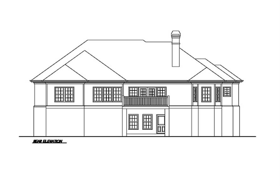 Home Plan Rear Elevation of this 3-Bedroom,1883 Sq Ft Plan -102-1002