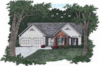 3-Bedroom, 1170 Sq Ft Ranch Home Plan - 102-1008 - Main Exterior