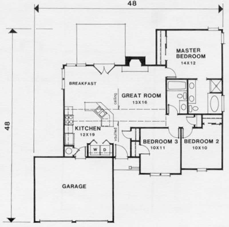 Ranch house plan 3 bedrms 2 baths 1170 sq ft 102 1008 for Reverse ranch house plans