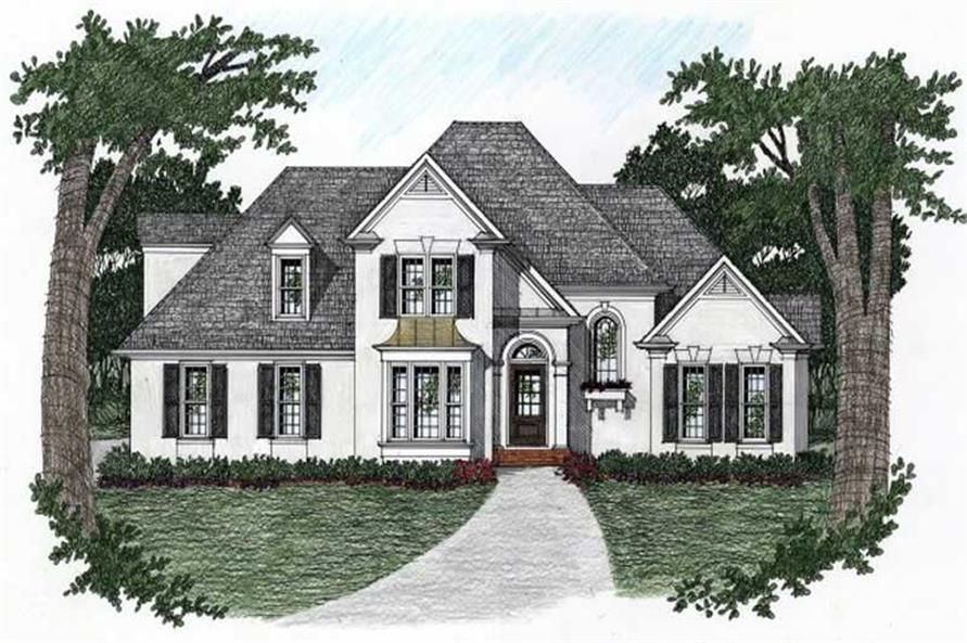 Front elevation of European home (ThePlanCollection: House Plan #102-1018)